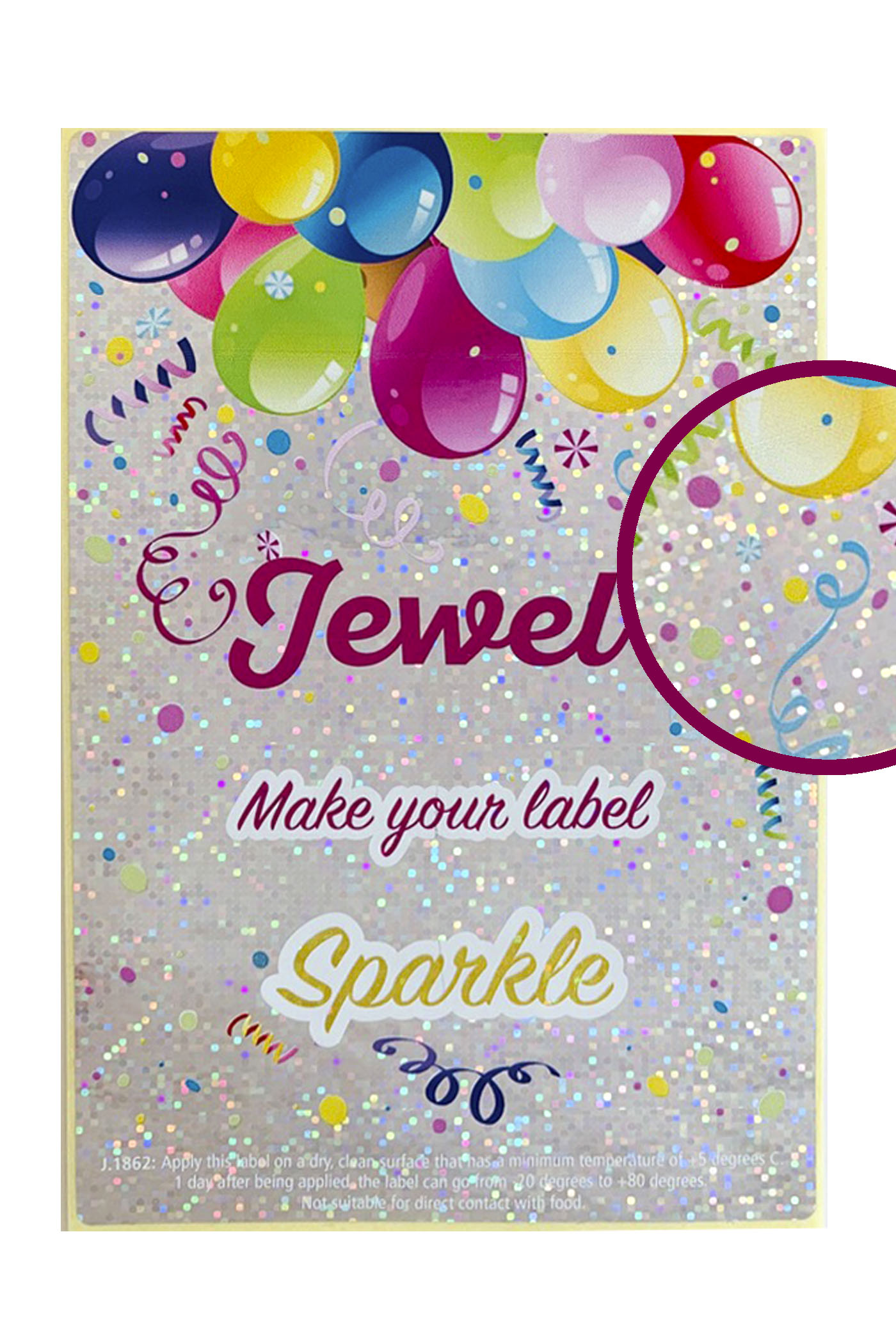 Label jewel sparkle