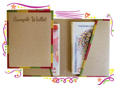 sample wallet labels materials